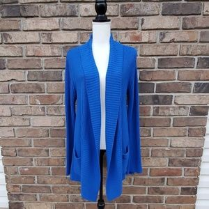 Chaus Blue Open-Front Ribbed Cardigan Sweater